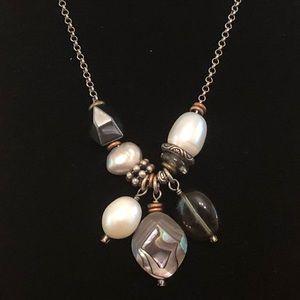 N2202 Silpada Silver Hematite Pearl Necklace.